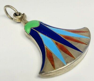 Antique 1920s Art Deco Enamel on 800 Silver Egyptian Revival Fan Pendant