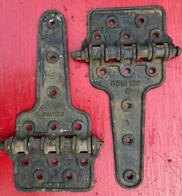 2 VINTAGE ANTIQUE LARGE CAST IRON PIN BARN DOOR Railroad Hinge Heavy Duty 15.5""