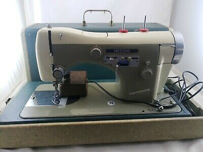Vintage Necchi BU Supernova Sewing Machine in Case Made in Italy Serviced Works