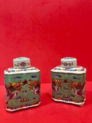 Pair of Antique Chinese Export Porcelain Tea Caddy Jars W/Dragons and Signed