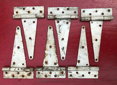 "6 12"" Antique Barn Shed Farm Gate Door Cast Iron T Strap Hinge Vtg White 30s 40s"