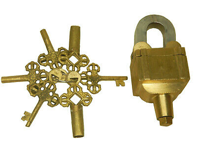 Golden Square Padlock Antique Finish Handmade Brass Trick Puzzle 6 Keys Padlock