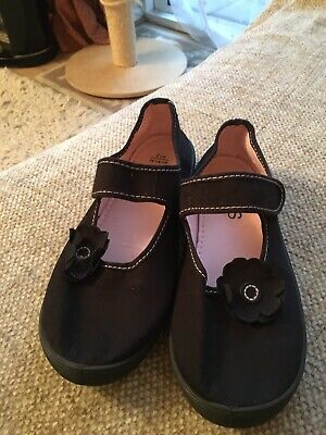Plimsoles Black With Flower From M & S Size 2