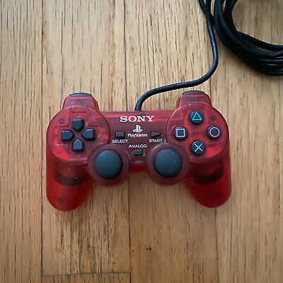 Official Sony Playstation DualShock 2 Controller, Mint Condition Transparent Red