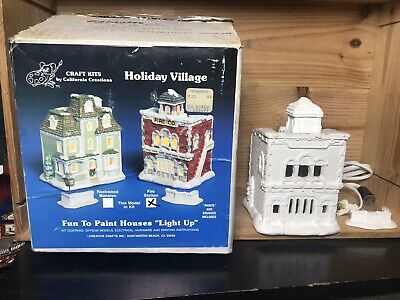 California Creations Holiday Village Fire Station Light Rare