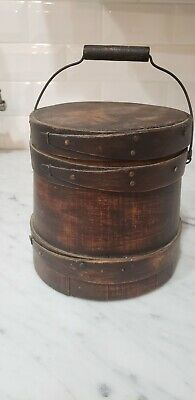 RARE- Antique Vintage Small Wooden Firkin Bucket With Lid Wooden Bail Handle