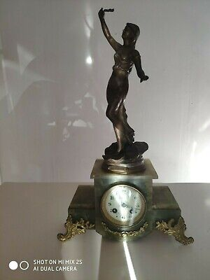 Antique French F.Martin Medaille d'Or 1900 Paris Onyx & Gilt Marble Clock