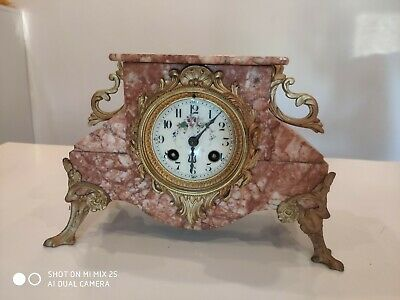 Antique Vintage French Japy Freres Medaille d'Honneur Gilt & Pink Marble Clock
