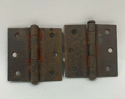 "Vtg Antique Door Chest Butt Hinges 3X3"" Inch Steel 5 knuckle Primitive Cabinet"