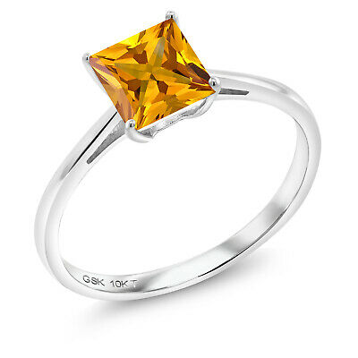 10k Rose Gold Emerald Cut 5.6ct Citrine and Diamond Ring