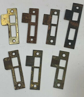 Vintage Antique Door Mortise Lock Striker Plate Latch Catch Lot Hardware Parts