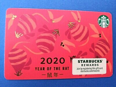 "Starbucks gift card ""2020 YEAR OF THE RAT"" NO VALUE. BRAND NEW. HOT! HOT! HOT!"