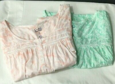Lot of 2 Croft & Barrow Classic Nightgown Womens Size 4X Pink White Green NWT