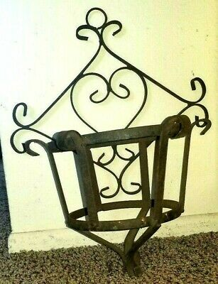 RARE Wrought Iron Heart Shaped Symbol Large Rustic Plant Hanger  Shabby Chic