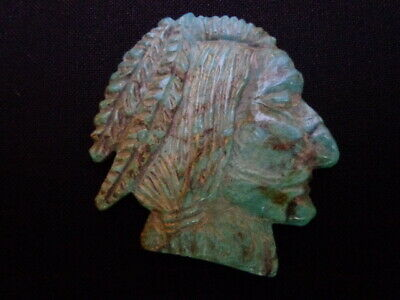 Carved Turquoise Head, Signed on Back, Vintage, Never Inset in Jewelry.