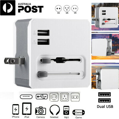 International Universal Travel Power Dual USB Adapter Wall Charger EUROPE USA P6