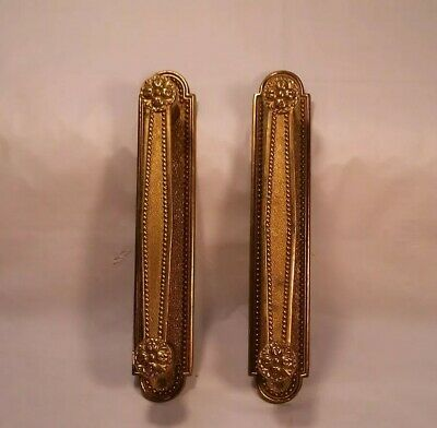 Antique pair set Solid BRASS Ornate Door Pull Handles made in Italy DETAILED