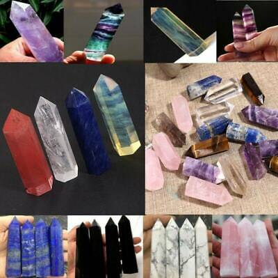 Natural Flourite Amethyst Pink Clear Quartz Crystal Point Obelisk Wand Healing
