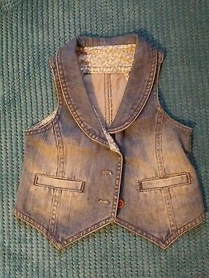 mothercare denim girl vest gilet camisole waistcoat casual formal 2-3 years