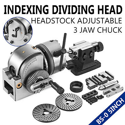 """BS-0 Precision Dividing Head With 5"""" 3-jaw Chuck & Tailstock For CNC Milling"""