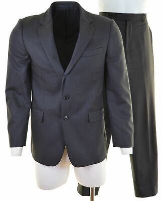 JAEGER Mens 2 Piece Suit Size 40 Large W34 L32 Navy Blue Wool Slim Fit  HN08