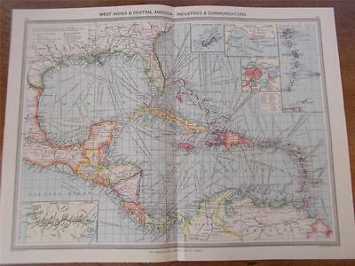 Antique c1904 Colour Maps WEST INDIES CENTRAL AMERICA INDUSTRIES COMMUNICATIONS