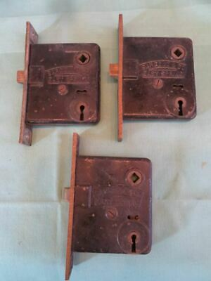 Lot 0f 3 Antique Sargent & Co. Easy Spring Mortise Lock Pat. June 1881 Jan 1886