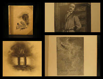 1889 The Raven Edgar Allan Poe Occult Horror Poetry Illustrated WL Taylor Art