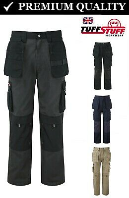 Mens Cargo Work Trousers Heavy Duty Combat with Knee Pad Pockets Pro Tradesman