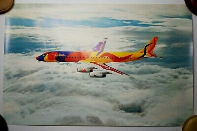 c1973 Braniff International DC-8 N1805 Alexander Calder Flying Colors Poster 23""