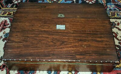 Antique Writing Slope Lap Desk 19th Century Fitted Interior Traveling Letters