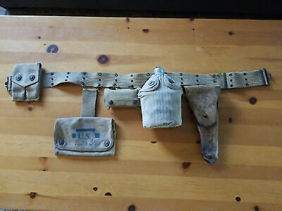 US WW1 Pistol Belt & Holster With Pouches Marked Vet Estate Personalized