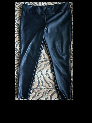Very Ladies Black Faux Leather Leggings Wet Look Shiny Stretch Size 22 Unworn