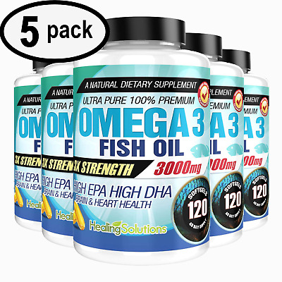 Ultra Pure Omega 3 Fish Oil 3000mg Potent, Joint Pain Relief - XL 120ct (5 PACK)