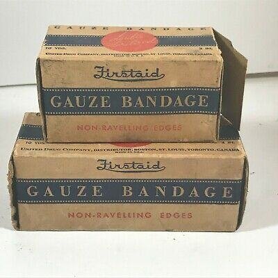 Pair of Vintage REXALL Firstaid Gauze Bandages United Drug Company St. Louis