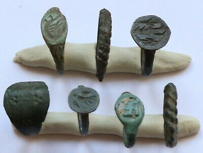 JOB LOT OF 7 AUTHENTIC MEDIEVAL BRONZE RINGS (Lot 3)