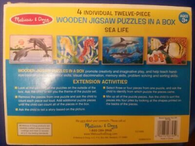 Melissa /& Doug Sea Life 4-in-1 Wooden Jigsaw Puzzles in a Storage Box 3795