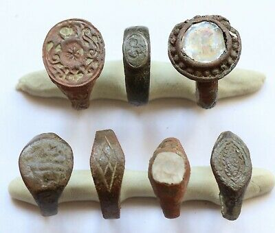 JOB LOT OF 7 AUTHENTIC MEDIEVAL BRONZE RINGS (Lot 5)