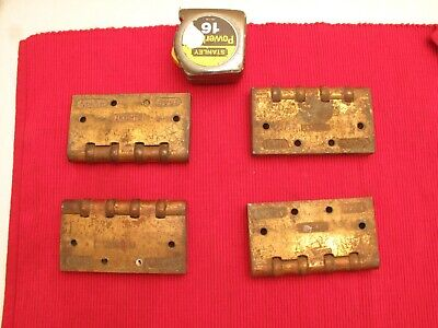 "Set Of 4 Antique Brass Arts Crafts Hinges Sargent 4 1/2"" X 4 1/2"" Bamboo Look"