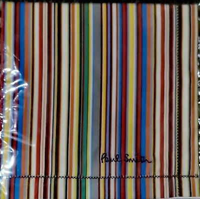Paul Smith Embroidered Signature Stripe Pocket Square Handkerchief New