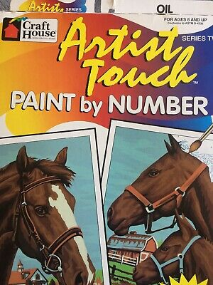 Oil Paint With Two Marked Canvases Vtg By Number Kit Horses Noble Companions '97