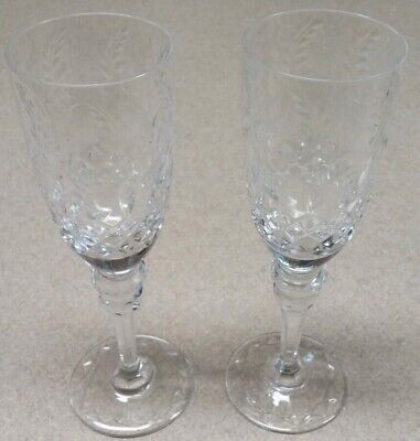 "2 Rogaska Crystal GALLIA Fluted Champagne/Wine Glasses SET OF TWO 8 1/2"" Tall"