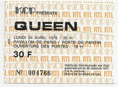 Rare / Ticket Billet Concert - Queen : Freddie Mercury - Live Paris France 1978