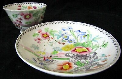 Antique Chinese Export Porcelain Teacup & Saucer - Painted Floral