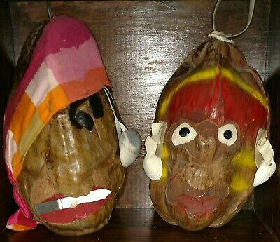 2 SCARY vintage hand carved folk art pirate coconut heads shell eye patch