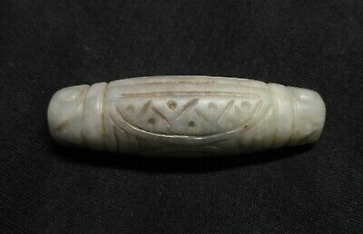 Old Chinese Hand Carved White Hetian Nephrite Jade Pendant Bead