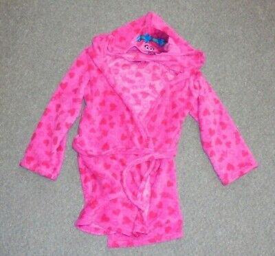 Girls - Trolls - Pink Hearts Dressing Gown - Size 8-9 Yrs - Ab11