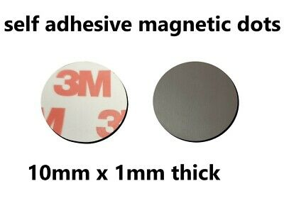 3M Self Adhesive Magnetic tape discs dots 10mm round x 1mm thick x 25 dots