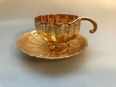 Antique Osborne 22 Kt Gold Painted Mayonnaise Sauce Porcelain Bowl Saucer China