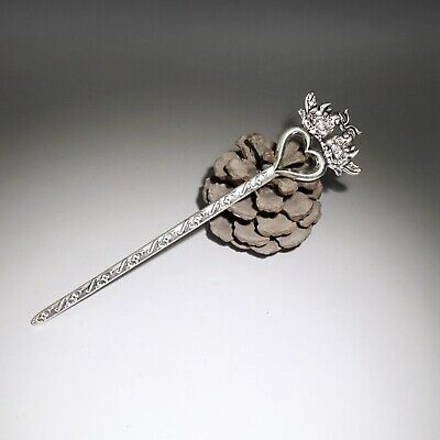 Collect China Old Miao Silver Hand-Carved A Pair Mandarin Duck Delicate Hairpin